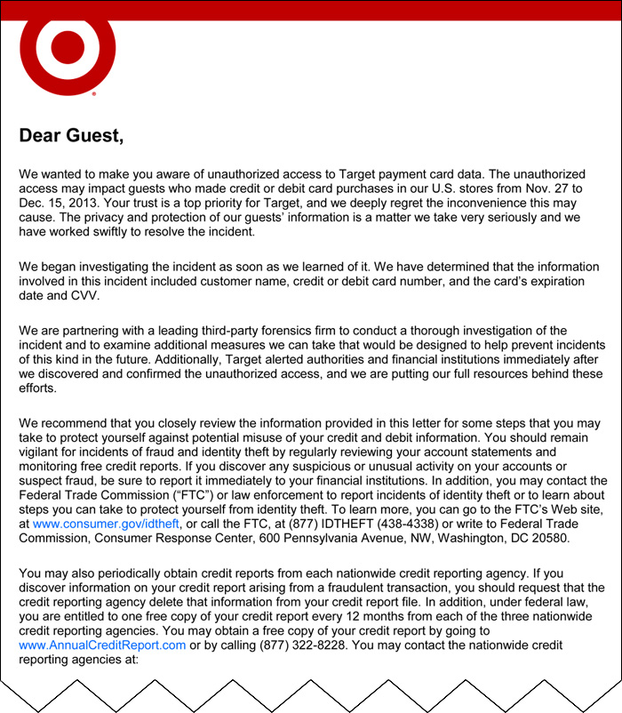 Initial email (truncated) sent by Target on 12/19/2013. The original email included an additional 4 pages of information.